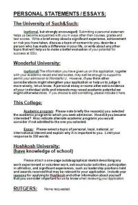 Rutgers Admission Essay Ideas?