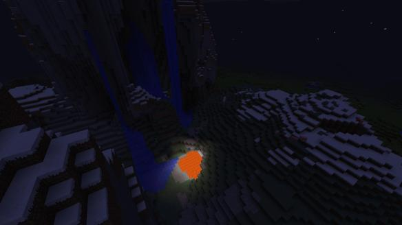 Dusk-waterfalls-lava pool-over head